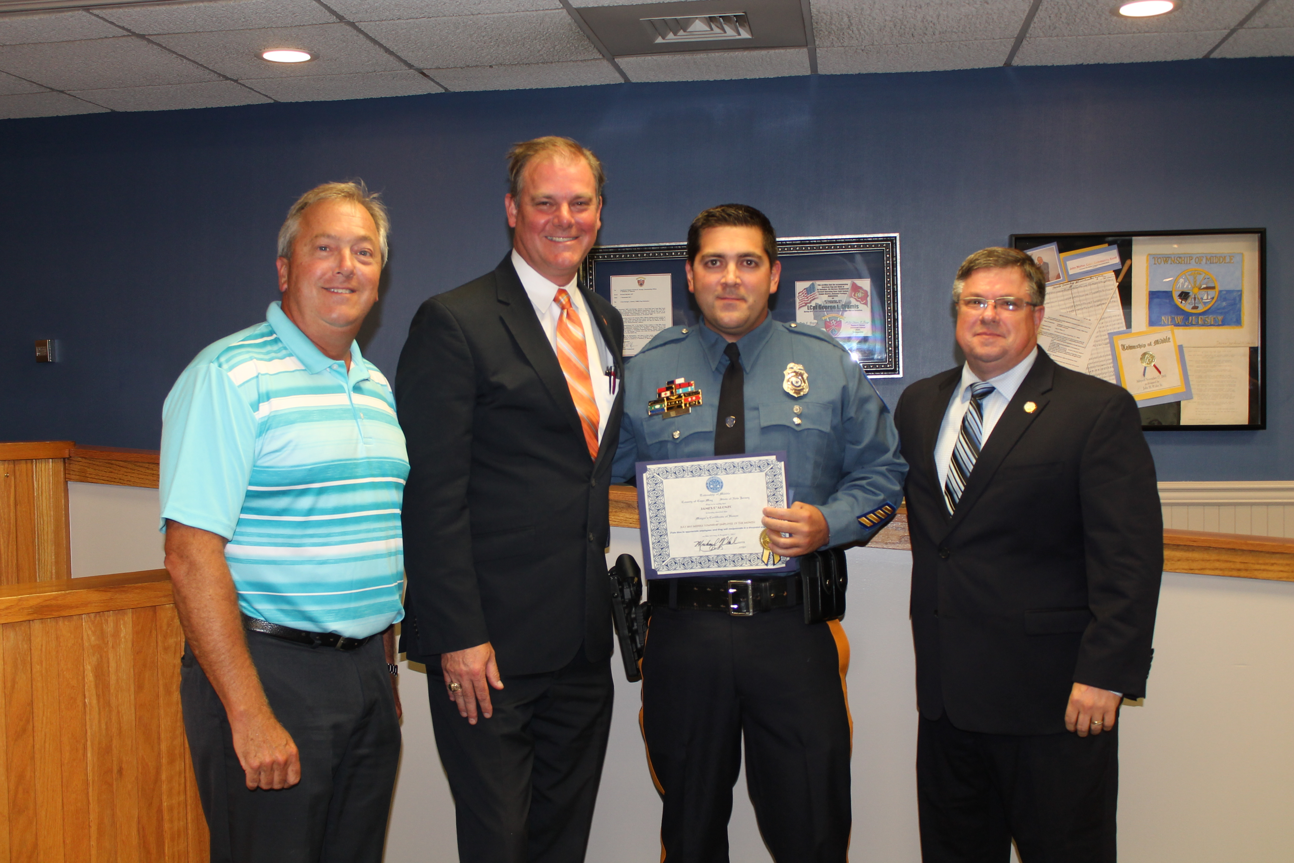5057a72021 The Middle Township Committee honored Police Cpl. James D Alonzo as the  July Employee of the Month Monday