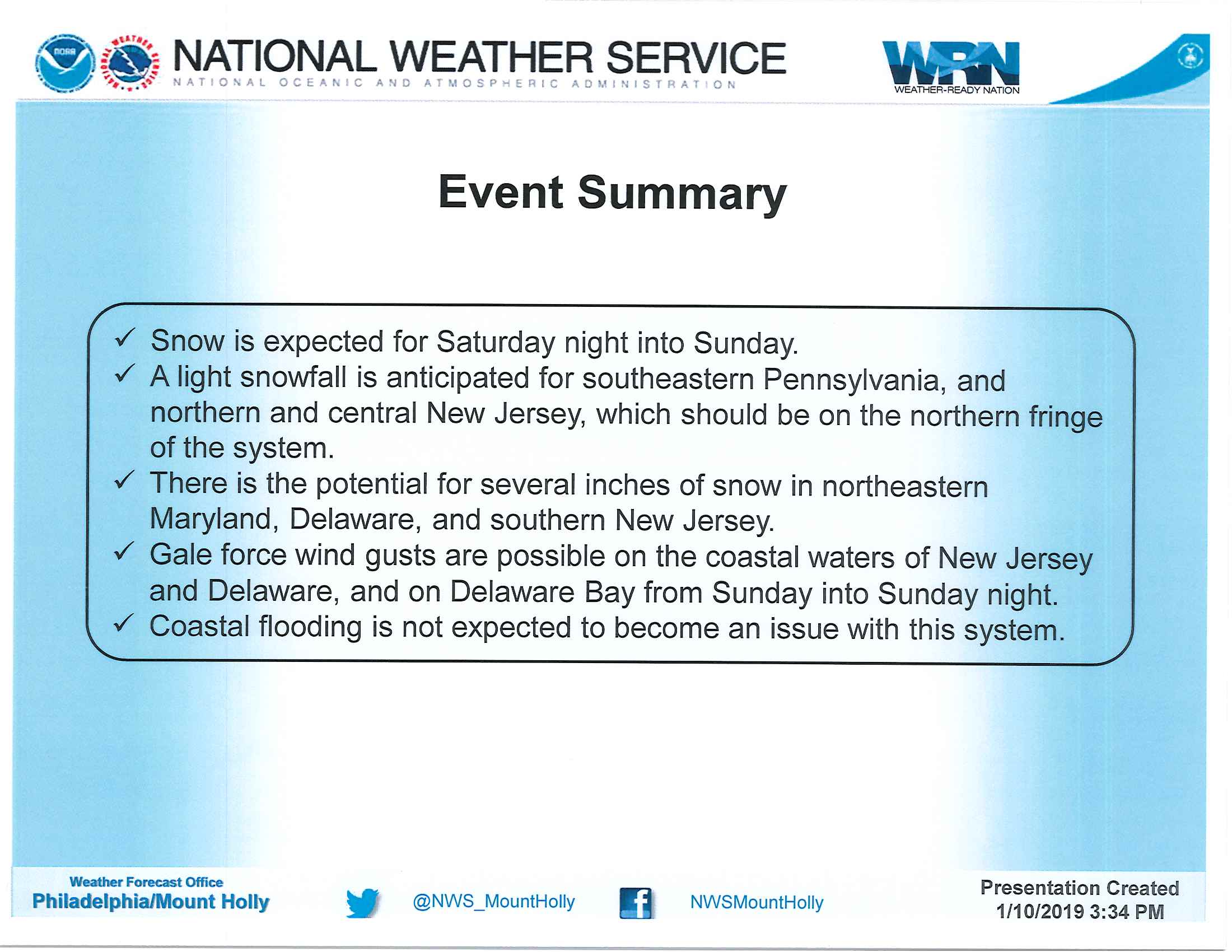 Weather Briefing from National Weather Service – Issued